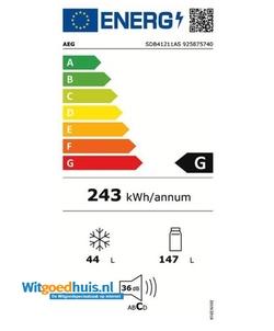AEG SDB41211AS inbouw koel / vriescombinatie