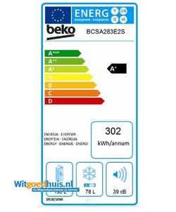 Beko BCSA 283E2S inbouw koelkast