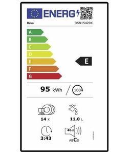Beko DSN15420X inbouw vaatwasser
