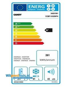 Candy CCBF 6182WFH koel / vriescombinatie