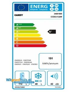 Candy CCDS 5122W koel / vriescombinatie