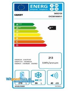 Candy CKCS6184WV/1 koel / vriescombinatie