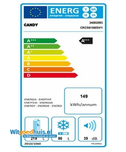 Candy CKCS6186ISV/1 koel / vriescombinatie