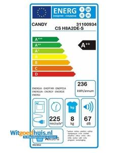 Candy CS H8A2DE-S wasdroger