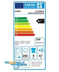 Candy GVS HY9A2TCE-S wasdroger