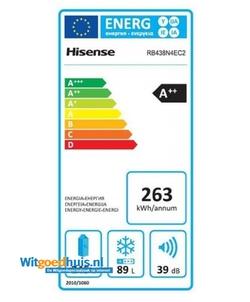 Hisense RB438N4EC2 koel / vriescombinatie