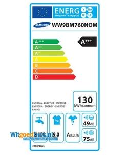 Samsung WW9BM760NOM/EN wasmachine