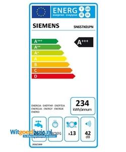 Siemens SN657X01PN iQ500 inbouw vaatwasser