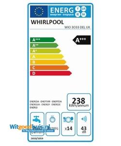 Whirlpool WIO 3O33 DEL inbouw vaatwasser