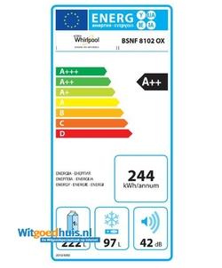 Whirlpool BSNF 8102 OX koel / vriescombinatie