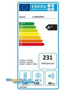 Zanussi ZRB33103WA koel / vriescombinatie